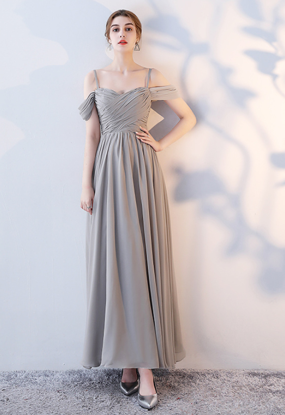 Robe de demoiselle d'honneur Laçage Sans Manches Mousseline A-ligne 3
