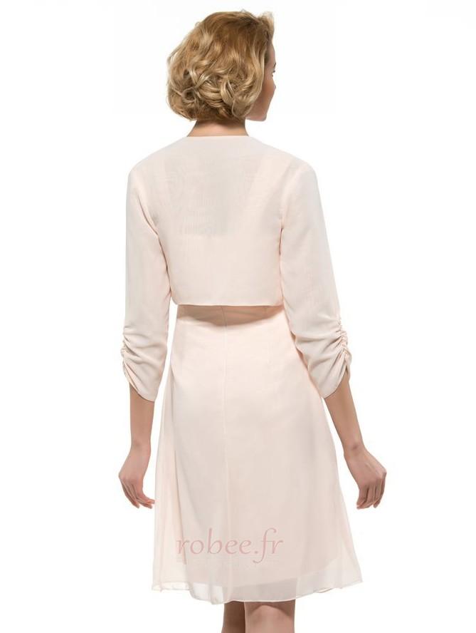 Robe mères Froid Fourreau plissé Manquant Naturel taille Longueur de genou 4