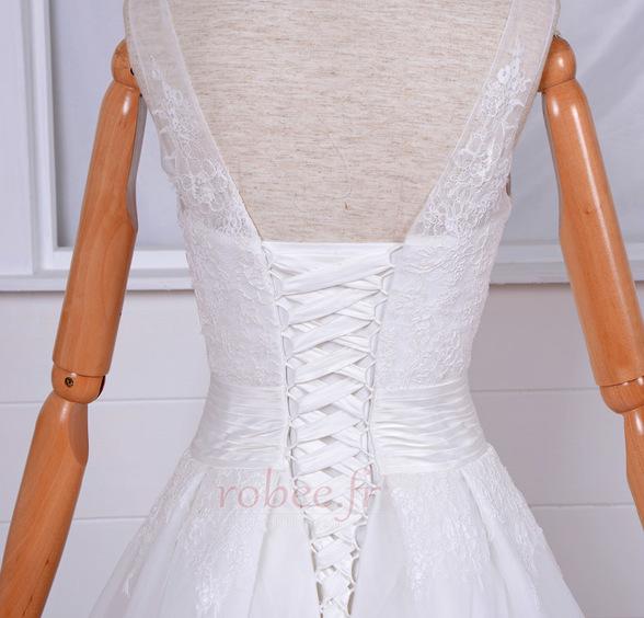 Robe de mariée Vintage Col Bateau Traîne Mi-longue Haut Bas Dentelle 5