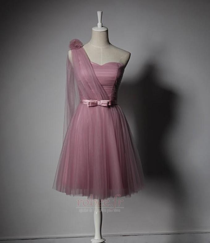 Robe de demoiselle d'honneur Laçage Mariage Col Asymétrique Glamour 3
