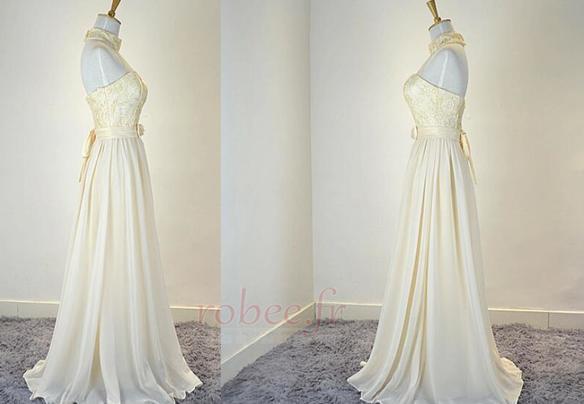 Robe de demoiselle d'honneur Mousseline Mariage Traîne Courte 4