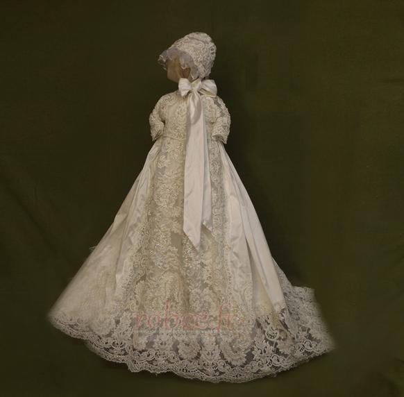Robe de fille de fleur Cérémonie Manche Courte Automne Longue 1