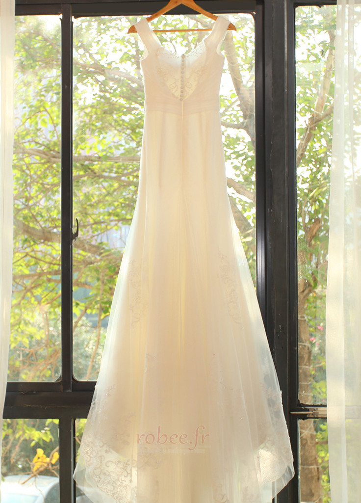 Robe de mariée Manquant Mancheron Elégant De plein air net Naturel taille 8
