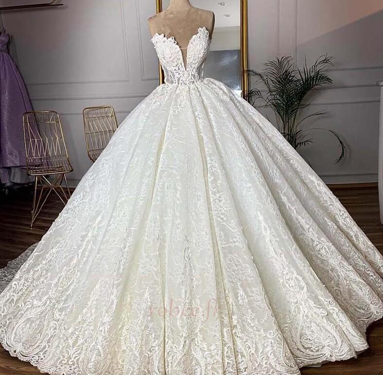 Robe de mariée Sans courroies Sans Manches Glissière Luxueux 1