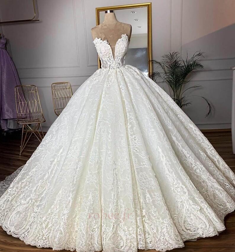 Robe de mariée Sans courroies Sans Manches Glissière Luxueux 3