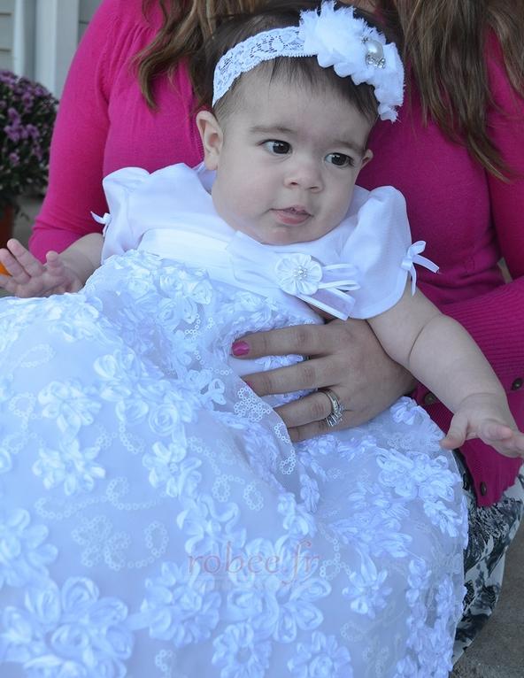 Robe de fille de fleur Princesse Satin élancé Bébé Fleurs Petit collier circulaire 2