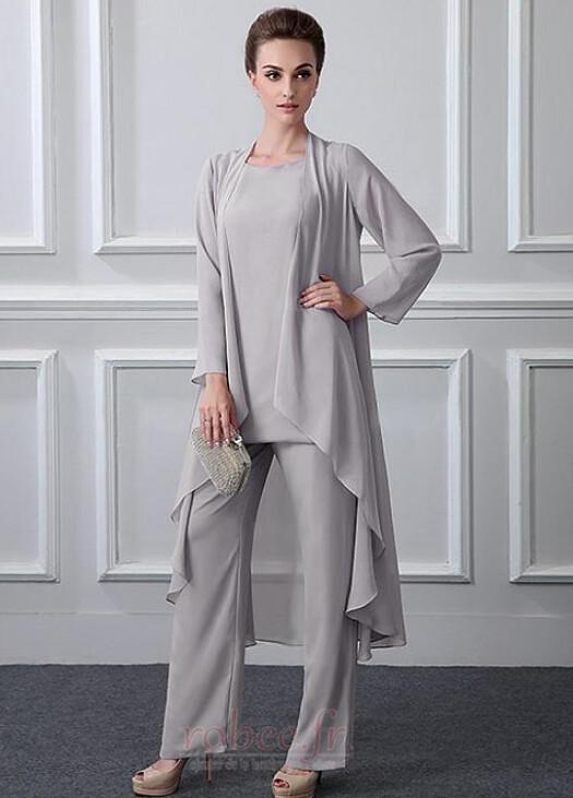 Robe mères Manche Longue Formelle Chiffon Un Costume Festin Haute Couvert 1