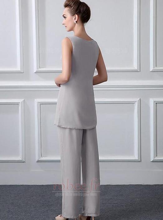 Robe mères Manche Longue Formelle Chiffon Un Costume Festin Haute Couvert 3