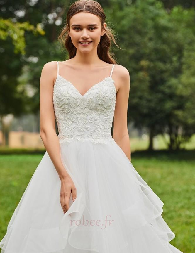 Robe de mariée De plein air Éternel Printemps Tulle Bretelles Spaghetti 5
