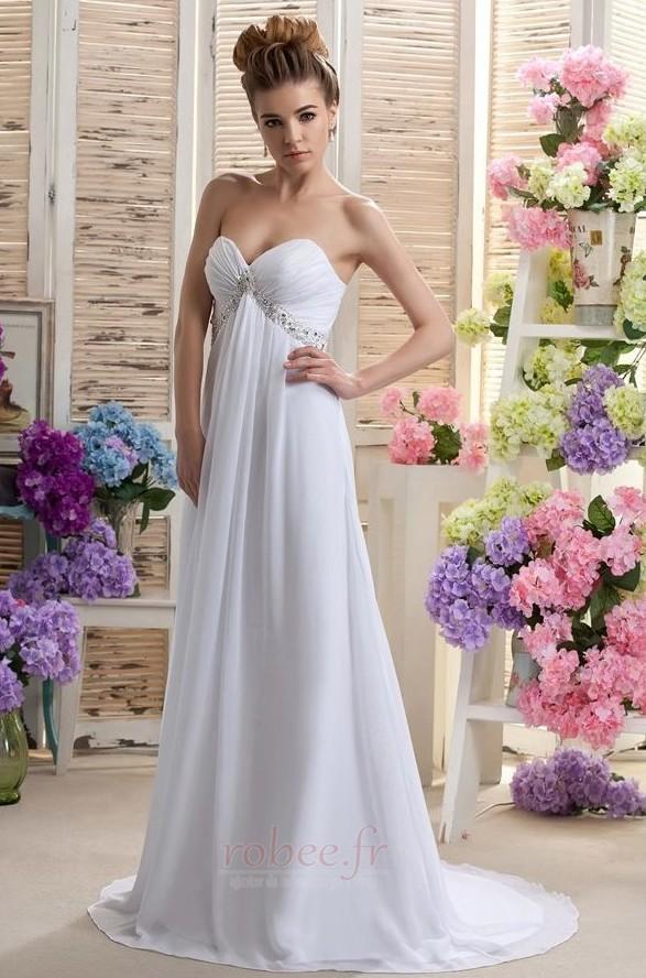 Robe de mariée Mousseline taille haute Médium Longueur de plancher 2