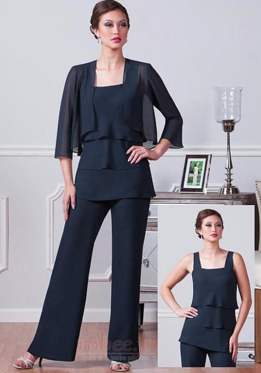 Robe mères Un Costume Chiffon Été Haute Couvert Gradins Elégant 1