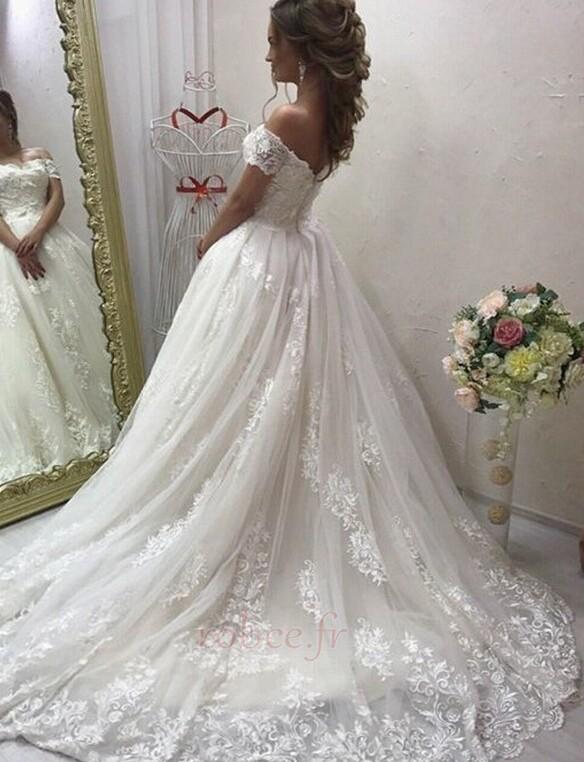 Robe de mariée Elégant Médium Manche Courte Traîne Courte Rosée épaule 2