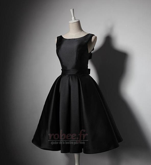 Robe de demoiselle d'honneur Simple A-ligne Satin Sans Manches 3