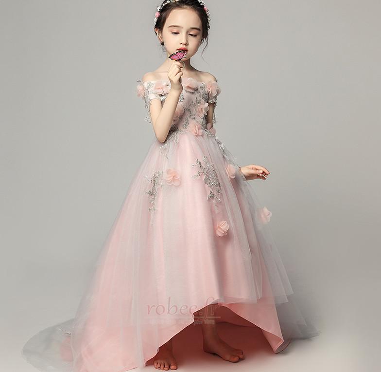Robe de fille de fleur Satin Fleurs Été Fermeture à glissière 5