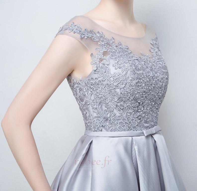 Robe de demoiselle d'honneur a ligne Mariage Sans Manches Appliquer 5