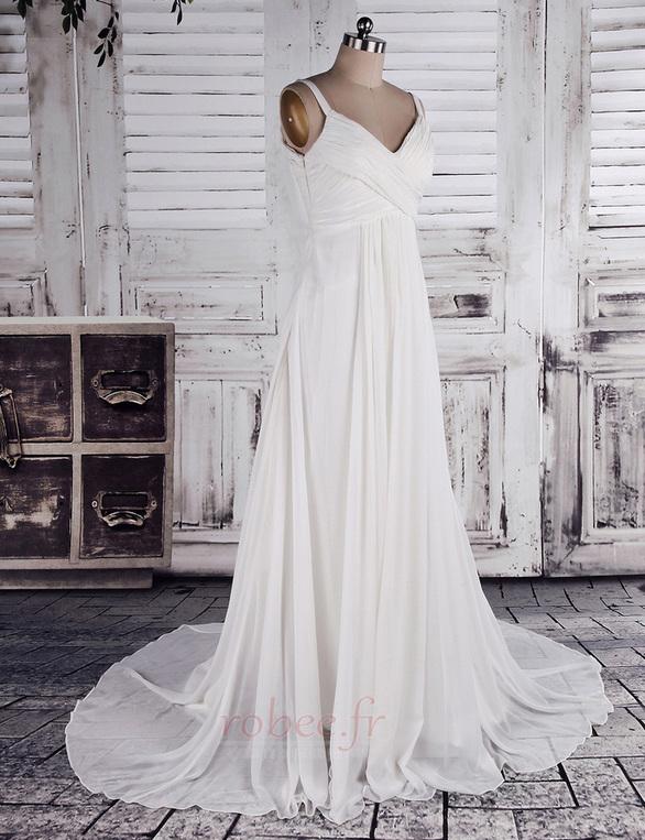 Robe de mariage crêper Sans Manches Salle des fêtes Été Milieu dos 2