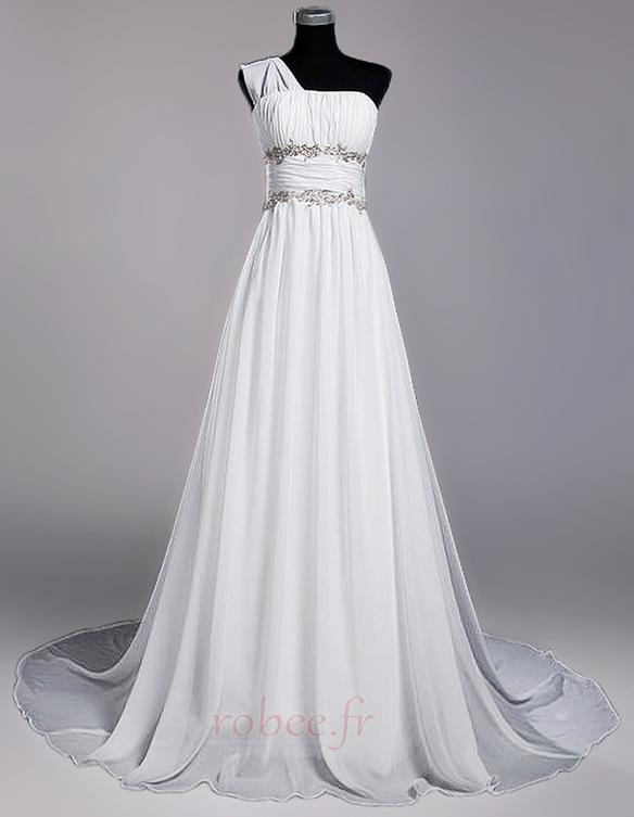 Robe de mariage Fourreau plissé Drapé Une épaule A-ligne Mousseline 1