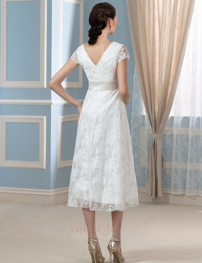 Robe de mariée Dentelle Luxueux Longueur de genou Taille haute 3