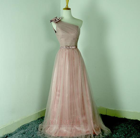 Robe de demoiselle d'honneur Rose Sans Manches Mariage Chic Nœud à Boucles 1