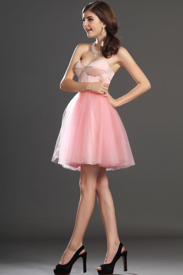 Robe de bal Tulle Mode Sablier Perle rose Col en Cœur Sans Manches 6