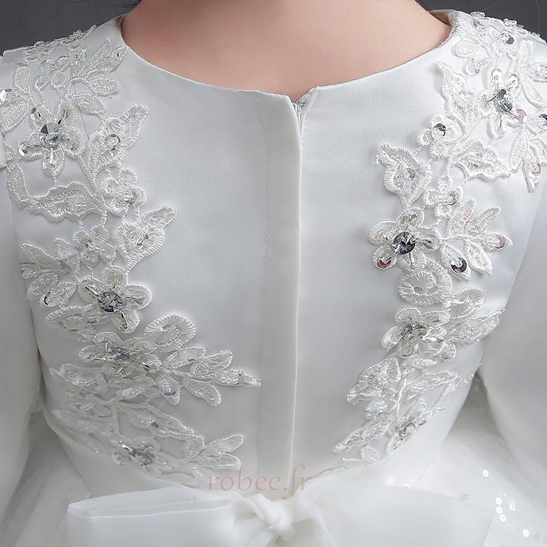 Robe de fille de fleur Manche Longue a ligne Fermeture à glissière 5