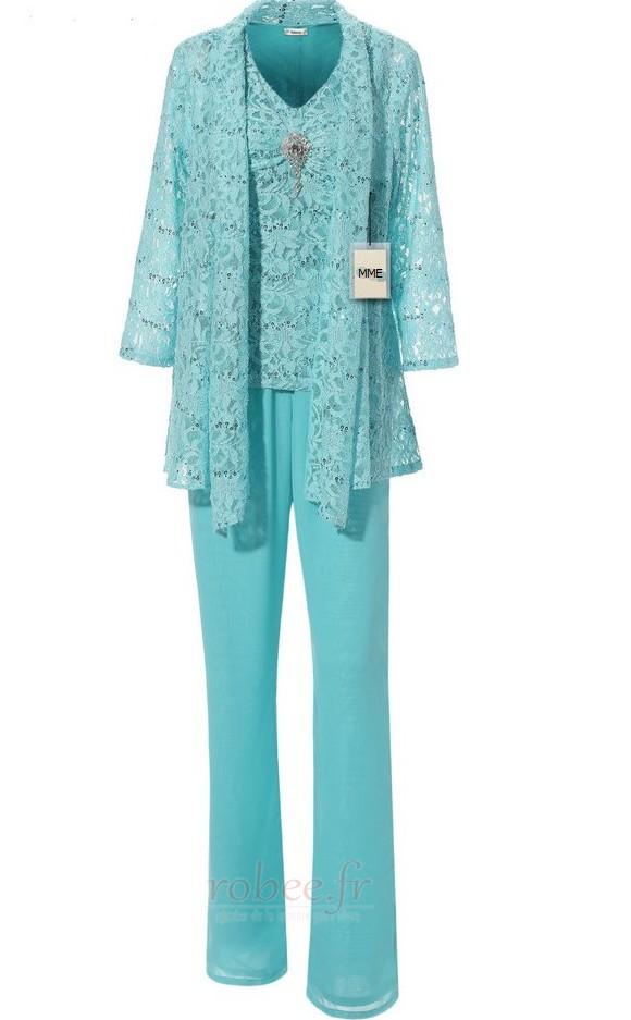 Robe mères Un Costume Luxueux Avec des pantalons Couvert de Dentelle 1