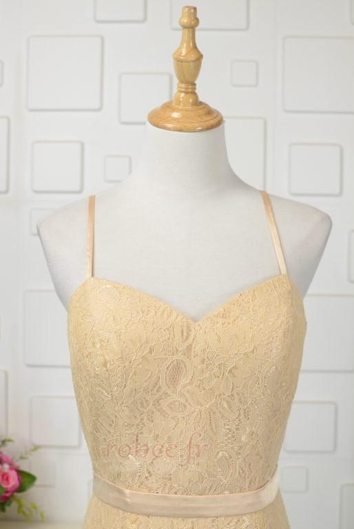 Robe de demoiselle d'honneur Longue Sans Manches Naturel taille 3