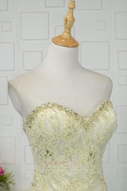 Robe de bal Moderne Sans Manches Naturel taille Ruchés Plongeants 4