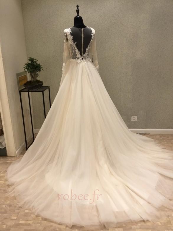 Robe de mariée Tulle Ample & Ornée Gaze Été Traîne Moyenne A-ligne 4