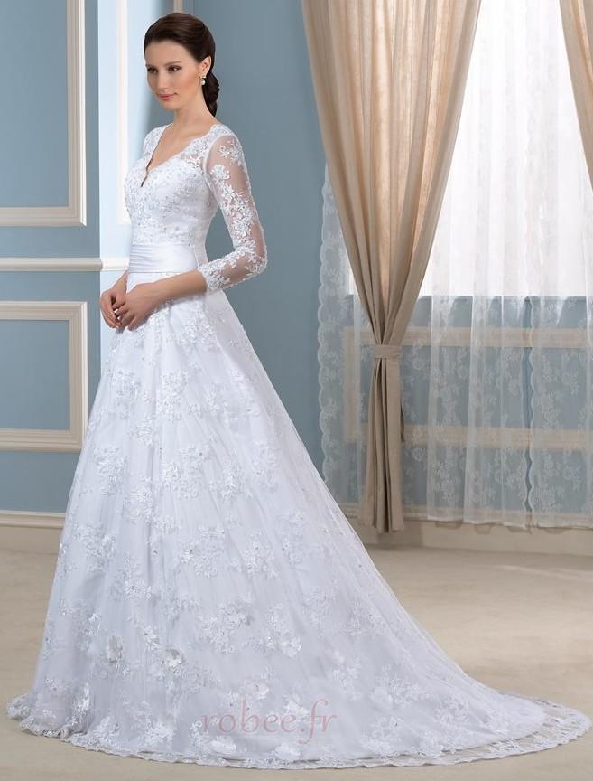 Robe de mariée Formelle Satin Chapelle Col en V Fermeture à glissière 3