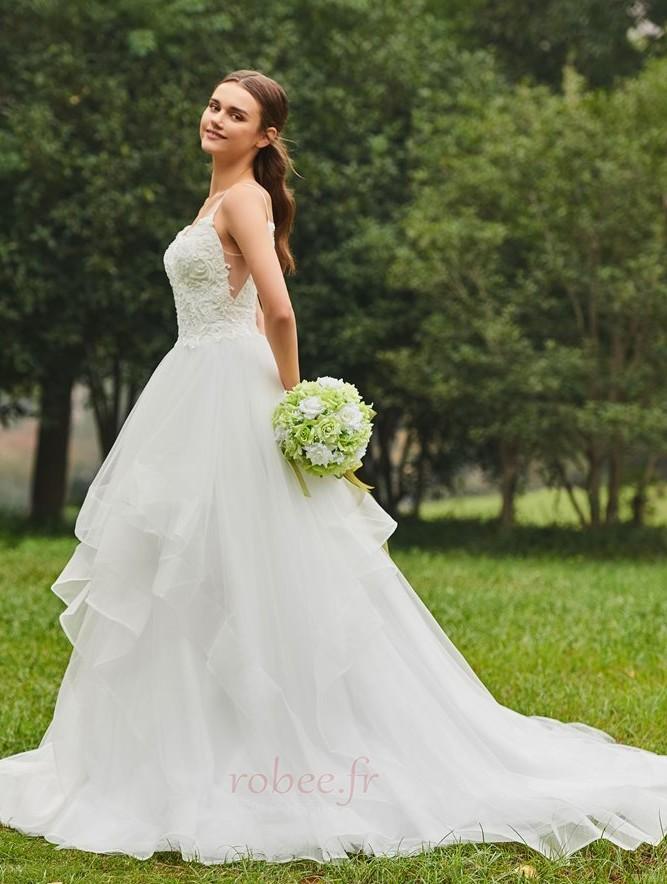 Robe de mariée De plein air Éternel Printemps Tulle Bretelles Spaghetti 3