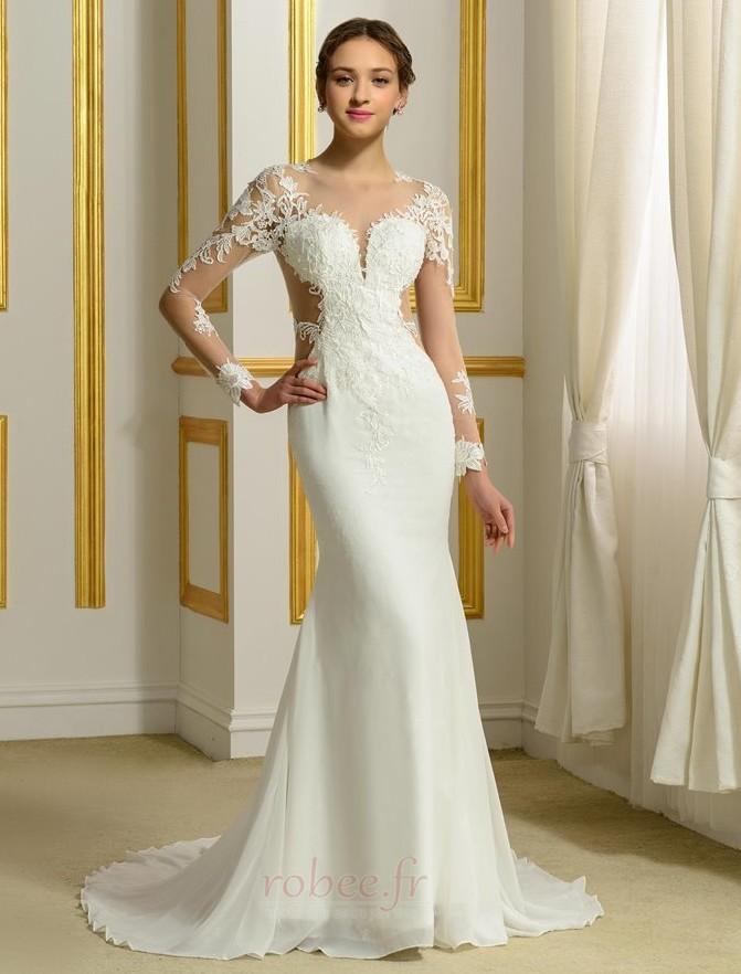 Robe de mariée Sans Manches Manquant Printemps Elégant Traîne Moyenne 1