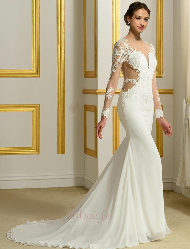 Robe de mariée Sans Manches Manquant Printemps Elégant Traîne Moyenne 2