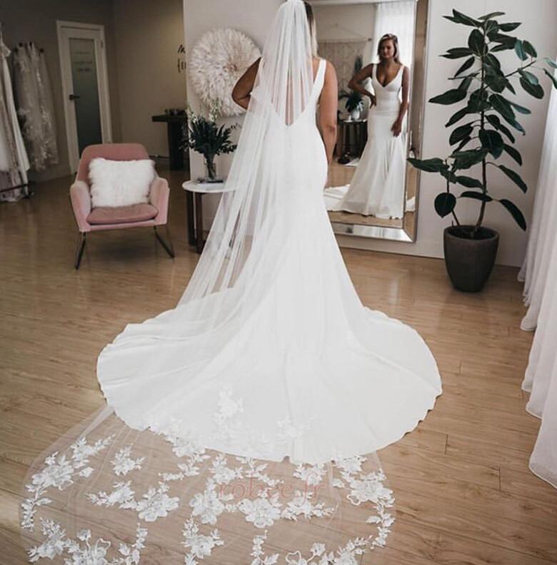 Robe de mariée Sirène Été Dos nu Col en V Petites Tailles De plein air 4
