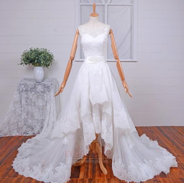 Robe de mariée Vintage Col Bateau Traîne Mi-longue Haut Bas Dentelle 1