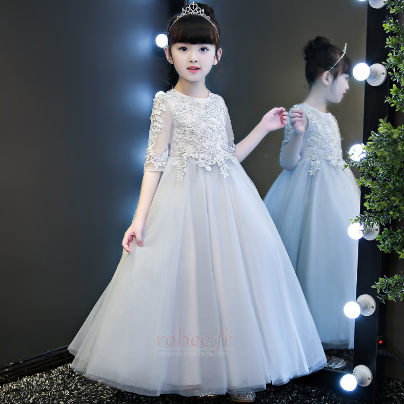 Robe de fille de fleur Dentelle Formelle Manquant A-ligne Cérémonie 4