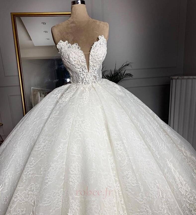 Robe de mariée Sans courroies Sans Manches Glissière Luxueux 2