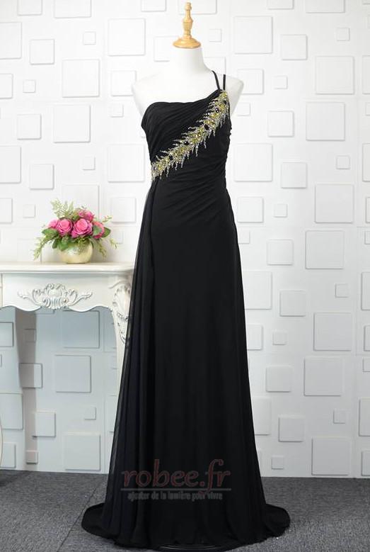 Robe de bal Noir Naturel taille Une épaule Longue Sans Manches 1