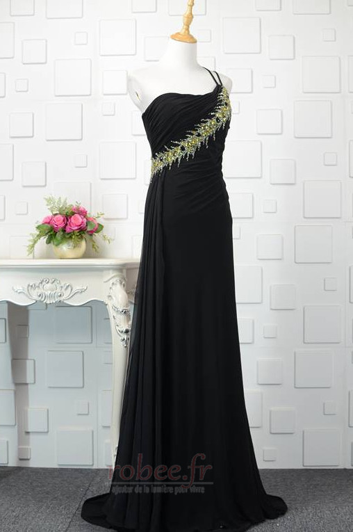 Robe de bal Noir Naturel taille Une épaule Longue Sans Manches 2