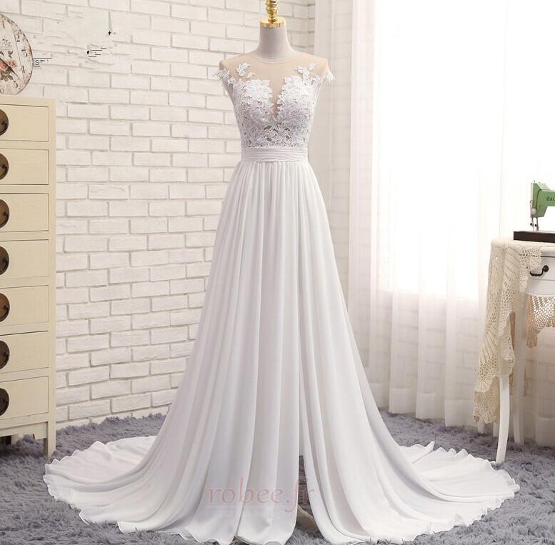 Robe de mariage Traîne Courte Fourchure Frontale Petit collier circulaire 1