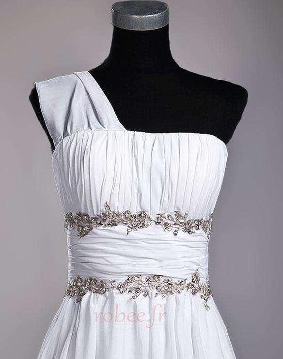 Robe de mariage Fourreau plissé Drapé Une épaule A-ligne Mousseline 5