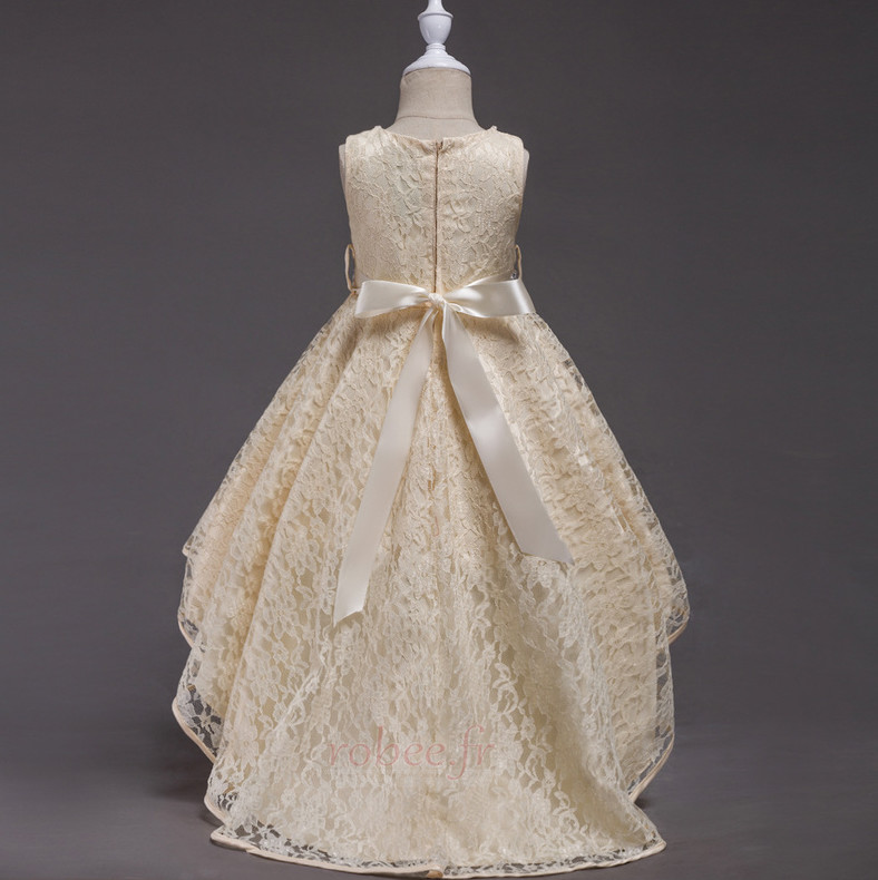 Robe de fille de fleur Col de chemise t Satin Mode Sans Manches 4