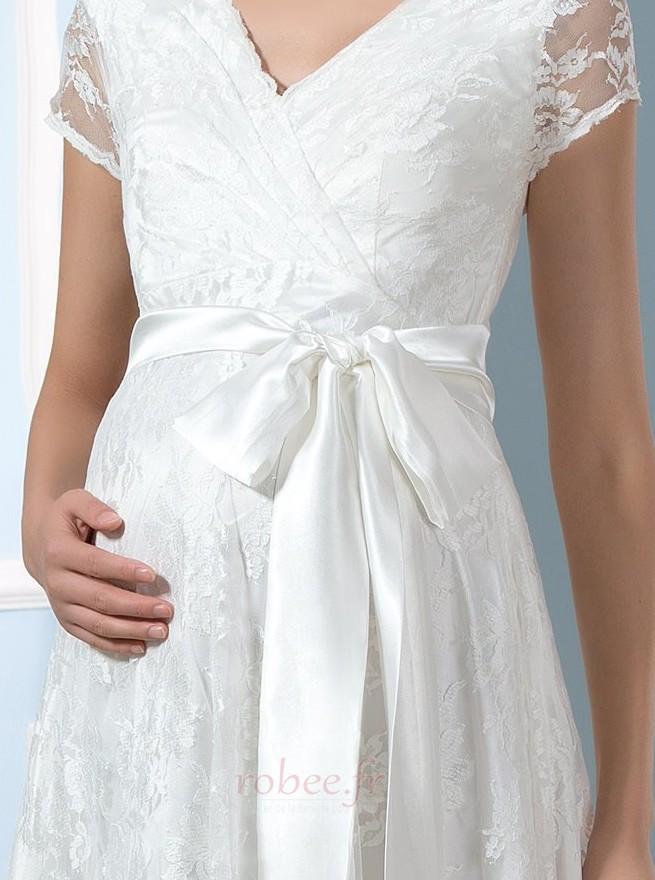 Robe de mariée Dentelle Luxueux Longueur de genou Taille haute 4