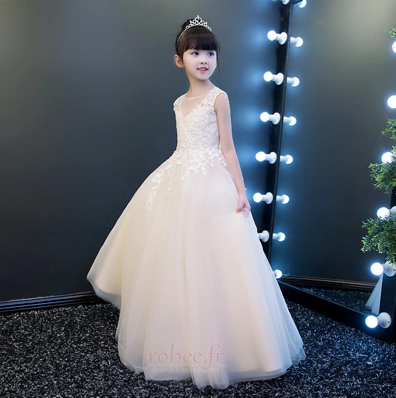 Robe de fille de fleur Cérémonie Sans Manches Cérémonial Naturel taille 3