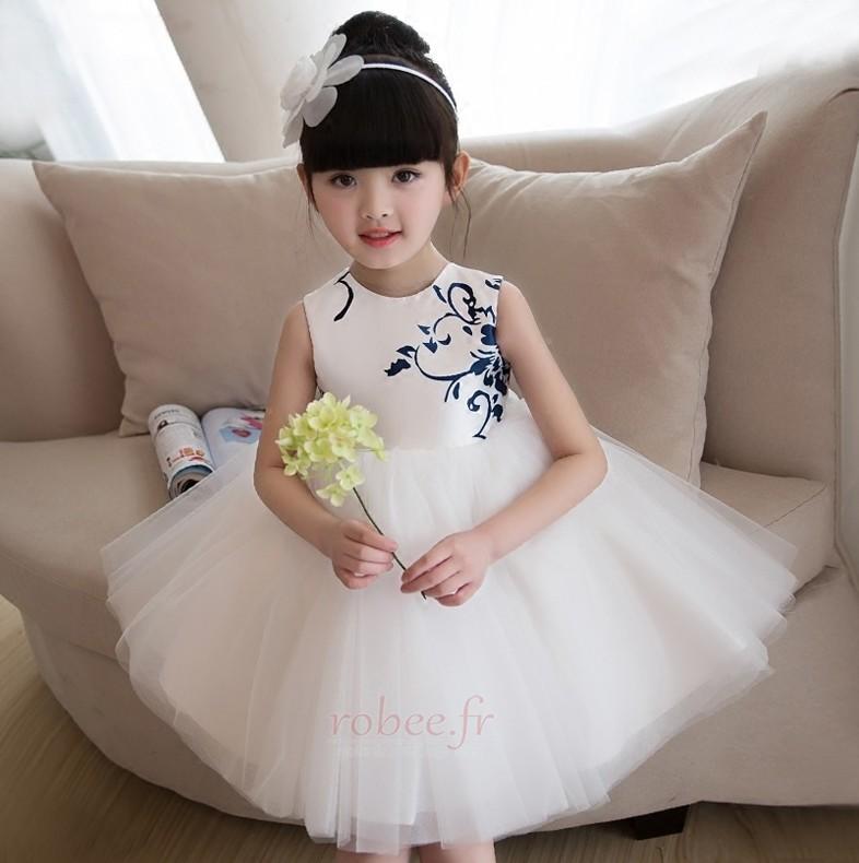 Robe de fille de fleur aligne Satin Printemps Longueur de genou 4