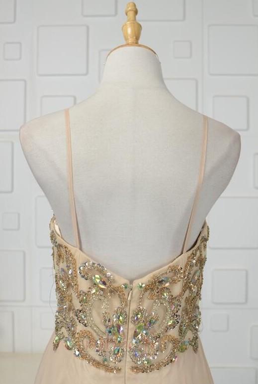 Robe de soirée Luxueux Mousseline Corsage Avec Bijoux Drapé Naturel taille 5