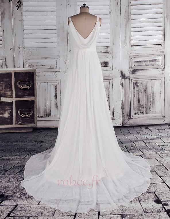 Robe de mariage crêper Sans Manches Salle des fêtes Été Milieu dos 4