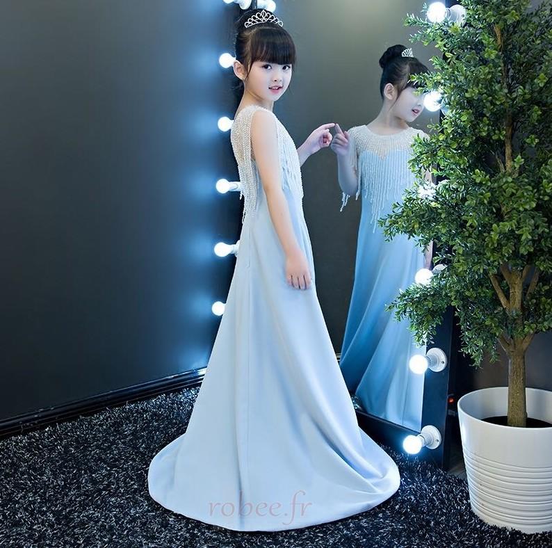 Robe de fille de fleur Chic Sans Manches Fermeture à glissière 3