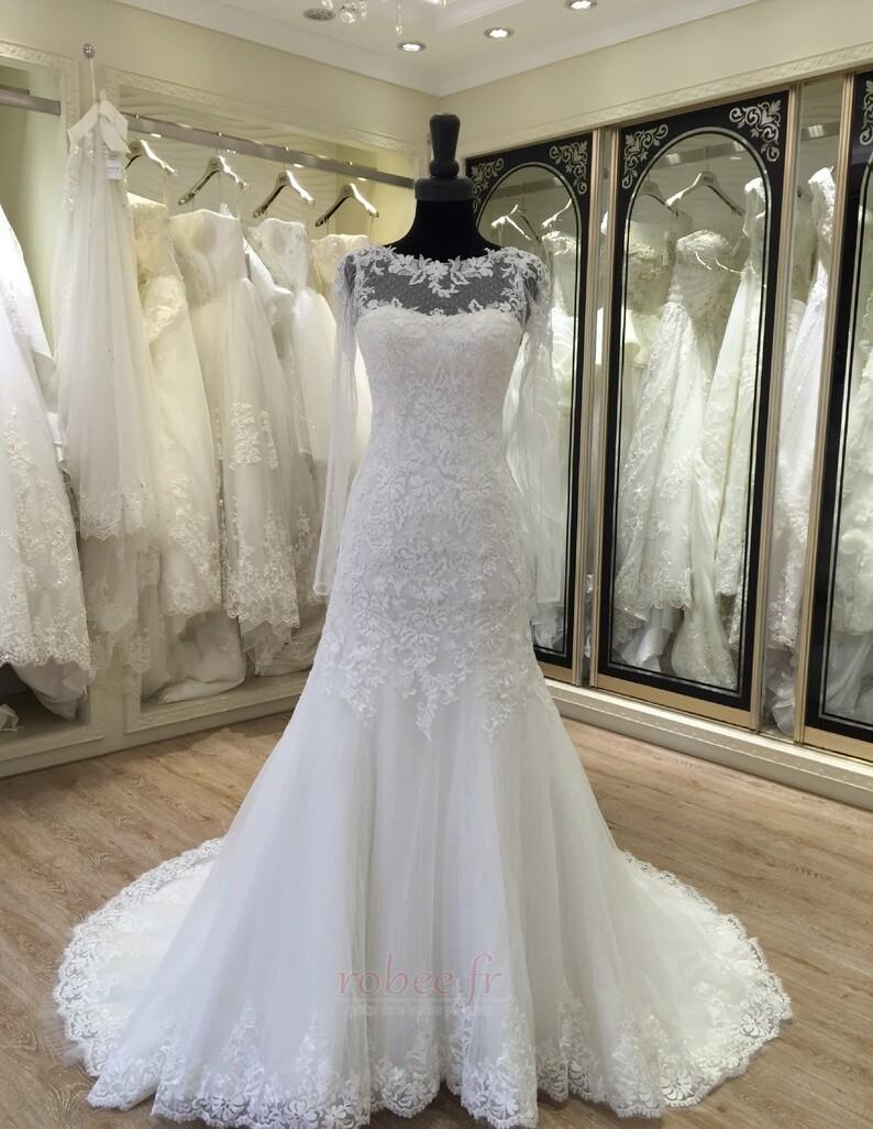 Robe de mariée Manche Longue Fermeture à glissière Traîne Mi-longue 1