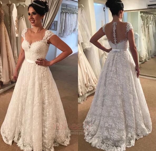 Robe de mariée Hiver Sans Manches Naturel taille Appliquer Cérémonial 1
